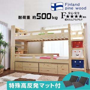 三つ折りマットレス2枚付 耐荷重500kg 二段ベッド 2段ベッド マーク・エックス3 -ART 宮付き 収納 収納つき 階段式 耐震式 人気 LED照明付 mote-kagu