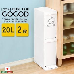 縦型分別ダストボックス【Cocod-ココド-】(2段 スリム 省スペース フタ付き フットペダル ゴミ箱 20L) mote-kagu