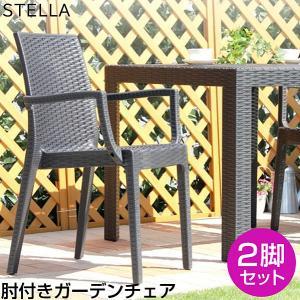 ガーデン肘付チェア 2脚セット【ステラ-STELLA-】(ガーデン カフェ) mote-kagu