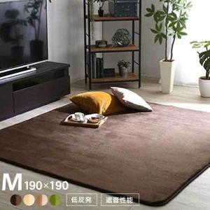 高密度マイクロファイバー・低反発ラグマットMサイズ(190×190cm)ホットカーペット、床暖房対応 リウル mote-kagu