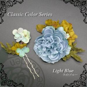 髪飾り 造花 アクセサリー 帯飾り 髪飾り  水色 エレガント 葉 白 グリーン 緑 花 コサージュ|motherrose