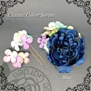 髪飾り ブルー あじさい 造花 アクセサリー 帯飾り 髪飾り エレガント 葉 水色 白 緑 花 コサージュ|motherrose