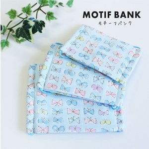 ハンドメイド ガーゼマスク 【リボンちょうちょ:ブルー】 手づくり 幼児サイズ|motifbank