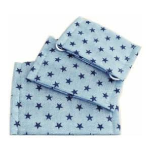ハンドメイド ガーゼマスク 【星柄:ブルー】 手づくり 幼児サイズ|motifbank