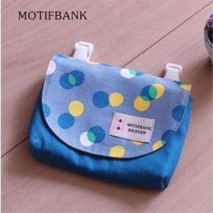 【移動ポケット】 ハンドメイド 子供用 マチ付きのポーチタイプ (ネオンドット柄:グレーxターコイズ)|motifbank