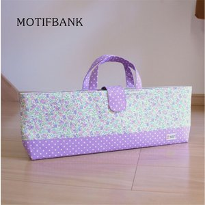 【ピアニカケース】 鍵盤ハーモニカ  ハンドメイド:パープルドットX花柄|motifbank