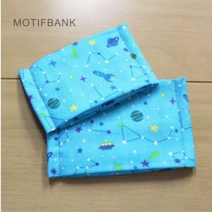 ハンドメイド ガーゼマスク 【星座柄:水色】 手づくり Sサイズ:幼児サイズを選択してください|motifbank