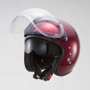 OWLスモールジェットヘルメット(回転式バブルシールド付)キャンディレッド HSJ-CR_東単/TOHTAN|moto-ship