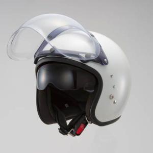 OWLスモールジェットヘルメット(回転式バブルシールド付)パールホワイト HSJ-PW_東単/TOHTAN|moto-ship