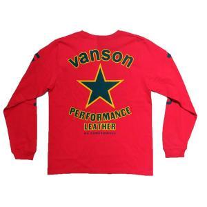 【VANSON】バンソン長袖Tシャツ「BLACK STAR」ブラックスター レッド|motobluez-store