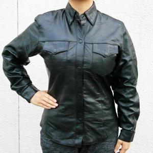 [レディース] 【ALLSTATE LEATHER】 レザーウエスタンシャツ (ラム革)|motobluez-store
