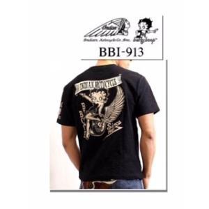★激安★コラボ半袖Tシャツ INDIAN MOTOCYCLE×BETTY BOOP ベティー・ブープ スラブ天竺 bbi-913 INDIAN MOTOCYCLE(インディアンモトサイクル)|motobluez-store