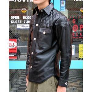 【HEAVY モトブルーズ】ソフトカウパッドレザーシャツ(バッファロースナップ)|motobluez-store