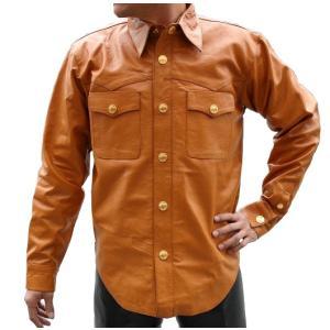 20%OFF! 【HEAVY】 バッファローレザーシャツ・キャメル ブラスVer.|motobluez-store