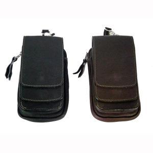 3ポケットレザーモバイル(スマホ)ホルダー モバイルケース シガレットケース|motobluez-store