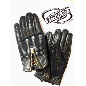 レザーグローブ Vin&Age スケルトン VG15A  ブラック ブラック motobluez-store