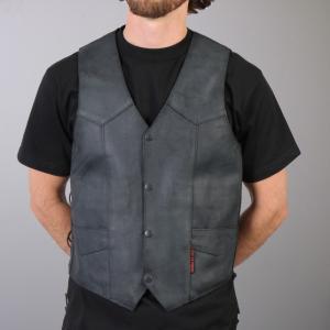 【HOT LEATHERS】 サイドレースベスト Heavy Leather Vest motobluez-store