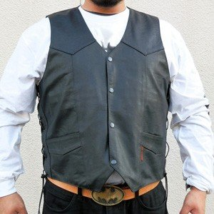 [2XL] 【HOT LEATHERS】 サイドレースベスト Heavy Leather Vest motobluez-store
