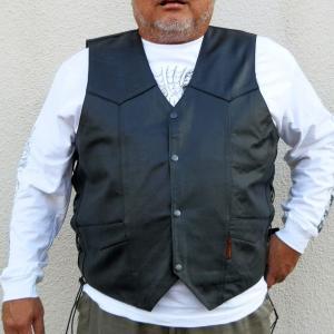 [3XL] 【HOT LEATHERS】 サイドレースベスト Heavy Leather Vest motobluez-store