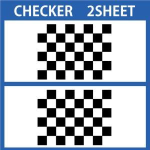 切り文字ステッカー   色変更OK CHECKER  2SHEET  カッティングシート・シール・デカール|motologo