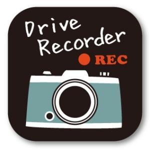 ドラレコステッカー レトロ・カメラ (角・黒 Drive recorder) ドライブレコーダー・シール|motologo