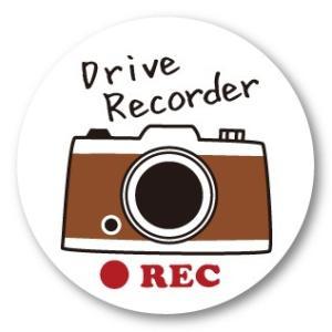 ドラレコステッカー レトロ・カメラ (丸・白 Drive recorder) ドライブレコーダー・シール|motologo