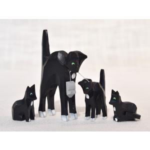 ドイツ木工芸品 ネコの親子 家族 4匹 motomachi-takenaka