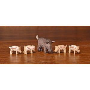 ドイツ木工芸品 イノシシの家族 猪 5匹セット|motomachi-takenaka