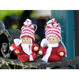 スウェーデン 赤いセーターのおすわり妖精 木製 ニット 置物 オーナメント 2個セット motomachi-takenaka