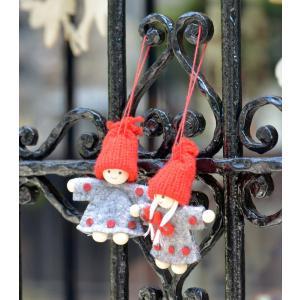 スウェーデン グレイの服の妖精 木製 ニット フェルト オーナメント 2個セット motomachi-takenaka