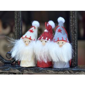 スウェーデン 三角帽子3人組の仲良し妖精 木製 フェルト 置物 オーナメント 3個セット 大 motomachi-takenaka