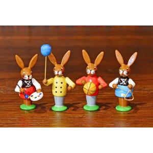 ドイツ木工芸品 イースターを楽しむウサギの子供達 イースター motomachi-takenaka