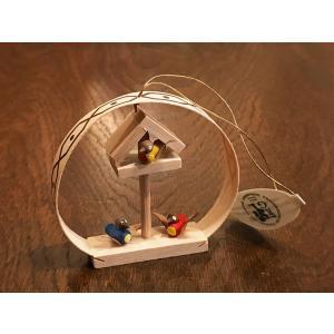 ドイツ木工芸品オーナメント・ラウンド バードハウス 小鳥|motomachi-takenaka