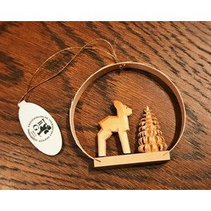 ドイツ木工芸品オーナメント・ラウンド 鹿 シカ 前向き ツリー|motomachi-takenaka