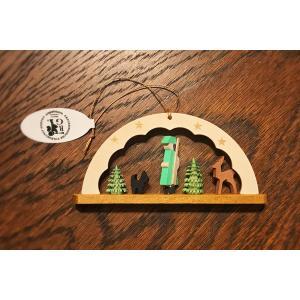 ドイツ木工芸品オーナメント・アーチ 森番 森の番人 犬 鹿 ツリー|motomachi-takenaka