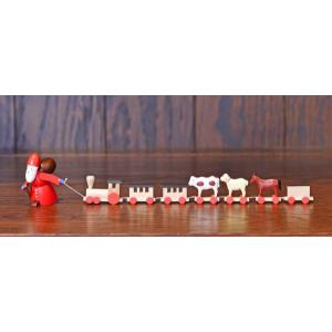 ドイツ木工芸品 引っ張るサンタクロース サンタ トレイン アニマル|motomachi-takenaka