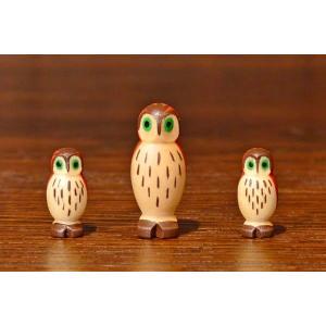 ドイツ木工芸品 フクロウの家族 ふくろう 3羽セット|motomachi-takenaka