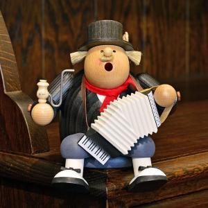 ドイツ木工芸品 煙出し人形 ストリートミュージシャン アコーディオン|motomachi-takenaka