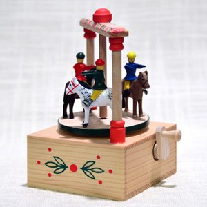 ドイツ木工芸品・手回しオルゴール 回転木馬|motomachi-takenaka