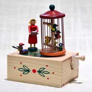 ドイツ木工芸品・手回しオルゴール 女の子と小鳥 motomachi-takenaka