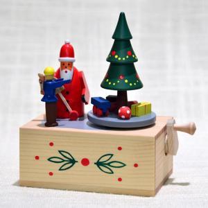 ドイツ木工芸品・手回しオルゴール サンタクロースとツリー motomachi-takenaka