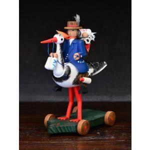 ドイツ木工芸品 コウノトリに乗る使者 motomachi-takenaka