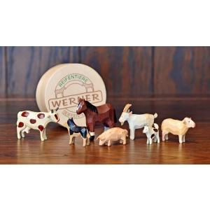 ドイツ木工芸品 仲良しな動物達 7種類 わっぱ入り 馬 牛 ヤギ 羊 ブタ 犬 motomachi-takenaka