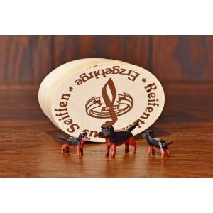 ドイツ木工芸品 犬の家族 ダックスフンド 3匹セット わっぱ入り motomachi-takenaka