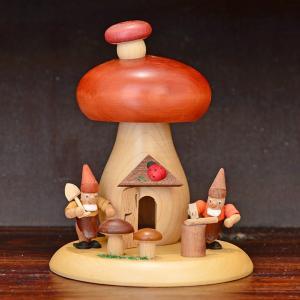 ドイツ木工芸品 煙出し人形 小人とマッシュルーム|motomachi-takenaka