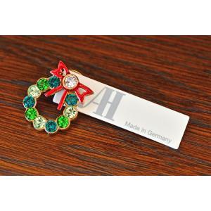 ドイツ Anton Hubner ピンブローチ リース リボン Wreath|motomachi-takenaka