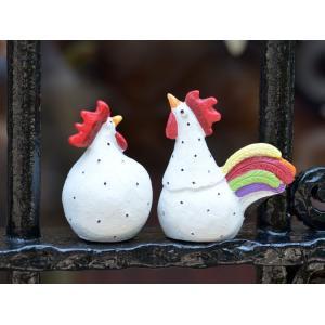 スウェーデン 置物 雄鶏と雌鶏 Rooster and Hen 2個セット 白|motomachi-takenaka