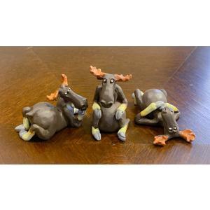 スウェーデン 置物 くつろぐヘラジカ Three small elks 3個セット|motomachi-takenaka