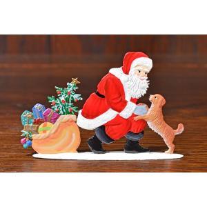 ドイツ錫(すず)飾り・サンタクロース 犬 プレゼント ツリー|motomachi-takenaka