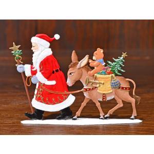 ドイツ錫(すず)飾り・サンタクロース ロバ プレゼント ツリー|motomachi-takenaka